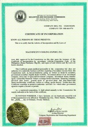 Thumb cert. of inc.
